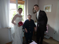 visiting Grandma after the ceremony